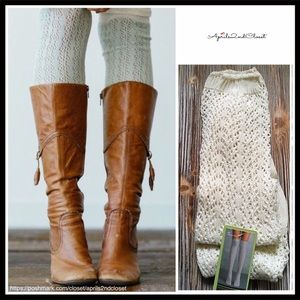 IVORY OVER THE KNEE TALL CROCHET LACE BOOT SOCKS